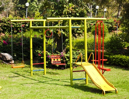 children playground equipment at botanical garden  Stock Photo