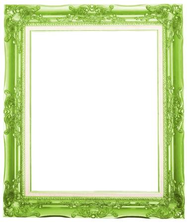 Baroque picture frame: le cadre photo vert antique isol� sur fond blanc