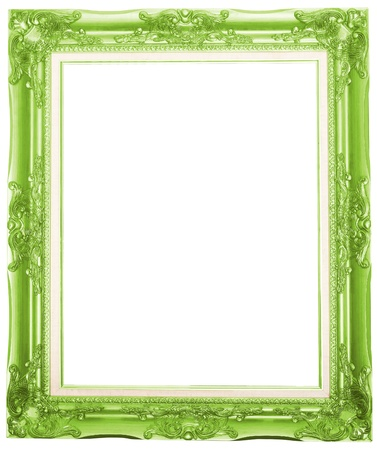 the green antique picture frame isolated white background
