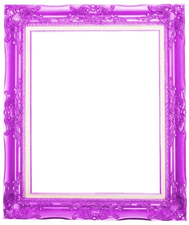 the pink antique picture frame isolated white background