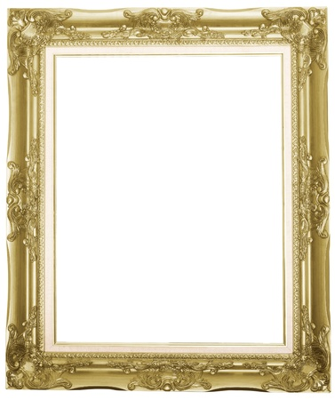 the silver antique picture frame isolated white background