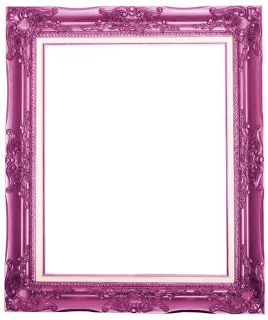 the purple antique picture frame isolated white background