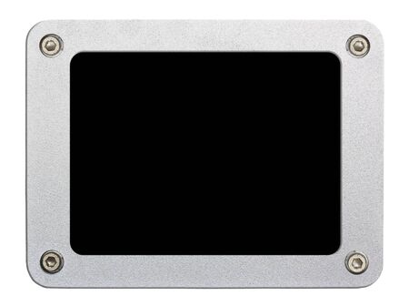 metallic frame picture on isolated white background  photo