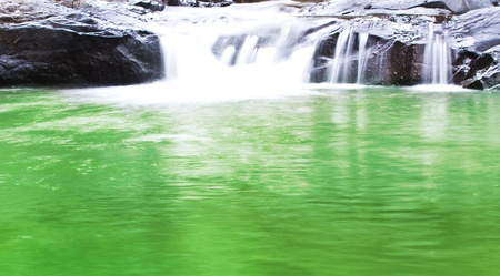 Green Waterfall Stream in the Mountains photo