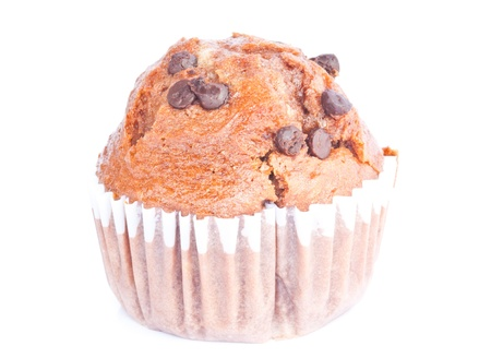 freshly mixed muffin on the white background photo