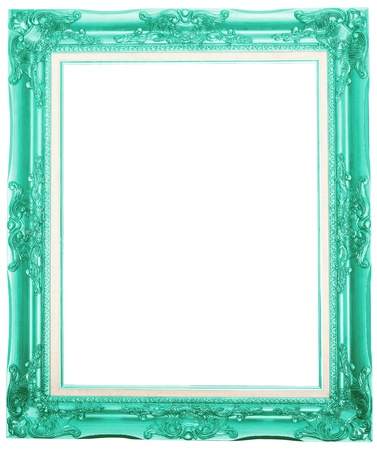 the fuchsia color antique picture frame isolated white background  Stock Photo