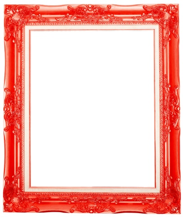 the red antique picture frame isolated white background  Stock Photo