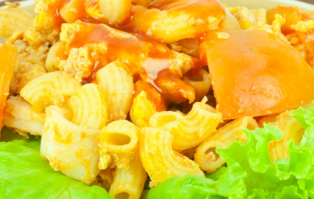 Closeup macaroni salad with Sauce