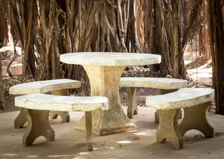 marble table in park with the tree root background,located in park Stock Photo - 16530919