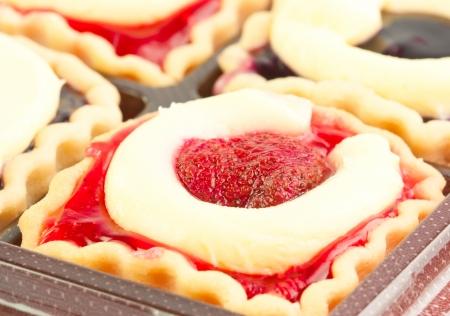 Close-up bakery cherry jam cake cup Stock Photo