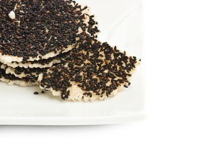 Flour, baking crispy sesame isolated on white background