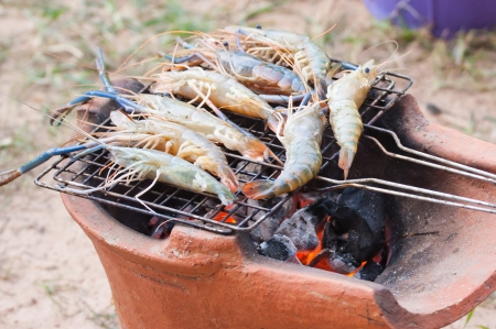 Grilled prawn on the grill photo