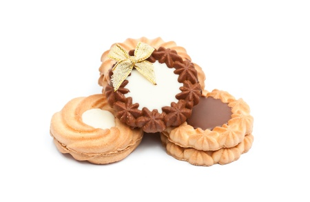 cookies with chocolate  on the white background photo