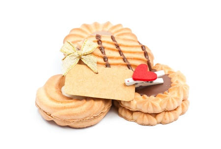 cookies with chocolate and blank note  on the white background photo