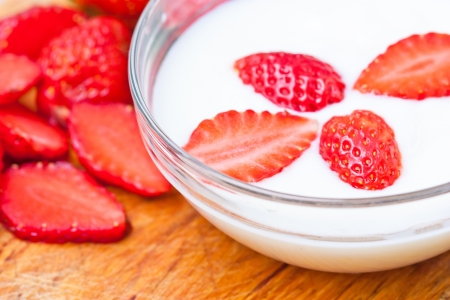 Yogurt with Fresh Organic strawberries