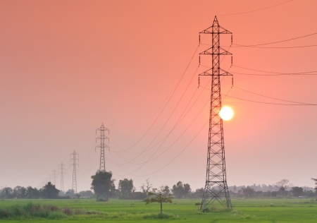 Electricity transmission pylon  in the field on sunset photo