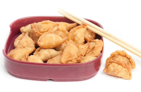curry puff with Isolated  white background photo