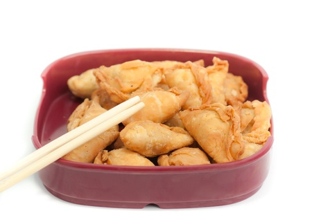 curry puff with Isolated  white background Stock Photo