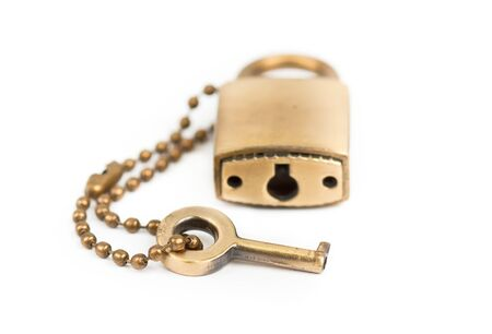 padlock and Key  with a chain photo
