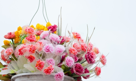 Hanging Artificial flowers pots Stock Photo - 18870491
