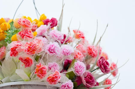 Hanging Artificial flowers pots Stock Photo - 18870479