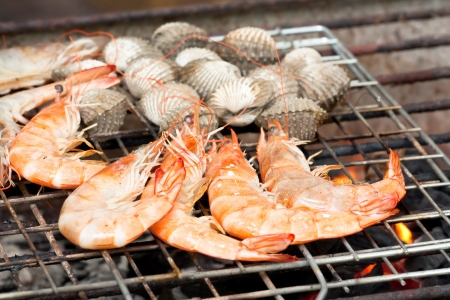 Grilled prawn on the grill
