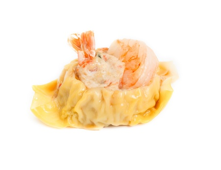 Chinese Steamed Dumpling isolated on the white background photo