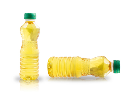 plastic bottle of oil isolated on white background