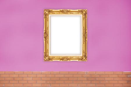 Or Picture Frame sur la couleur jaune du mur. Banque d'images - 62157490