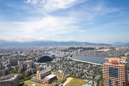 view of the Japanese city of Fukuoka from the observation deck of the Fukuoka Tower
