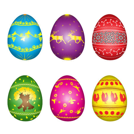 Set of easter eggs with the yellow painting Illustration