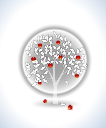 White tree with red apples Illustration