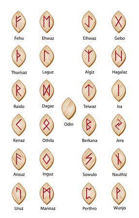 Set of wooden runes. 25 pieces Vector