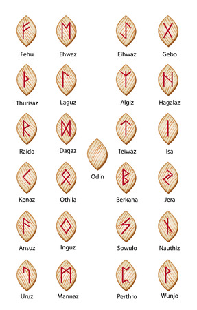 norse: Set of wooden runes. 25 pieces