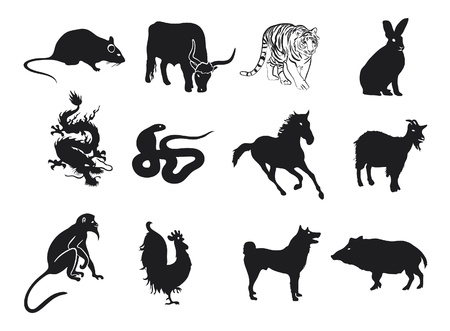 chinese astrology: Astrology Chinese Zodiac - Whole Set Illustration
