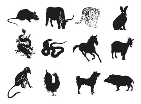 chinese zodiac: Astrology Chinese Zodiac - Whole Set Illustration