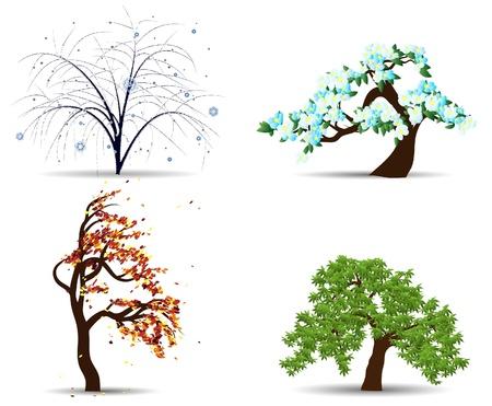arboles de caricatura: Cuatro �rboles de temporada