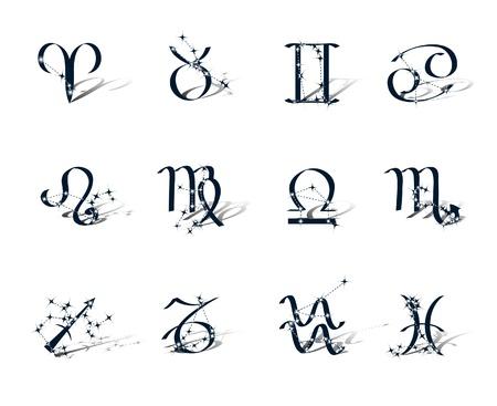 capricornio: Símbolos del Zodiaco decoración constelaciones zodiacales. Aislados sobre fondo blanco Vectores