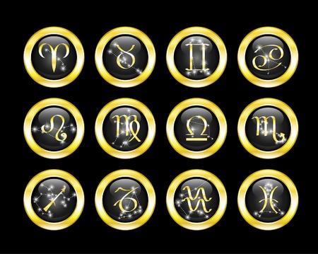 costellazioni: insieme di pulsanti zodiaco decorato costellazioni zodiacali