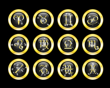 zodiac signs: set of zodiac buttons decorated zodiac constellations