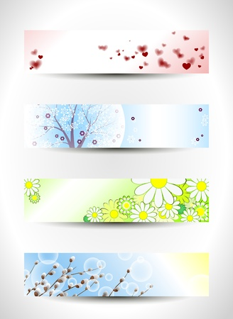 Set of four spring headers Vector