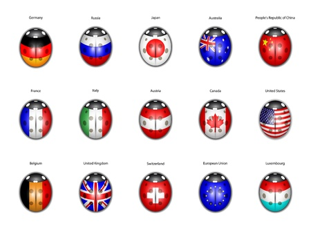 set of flags of countries in the form of ladybirds