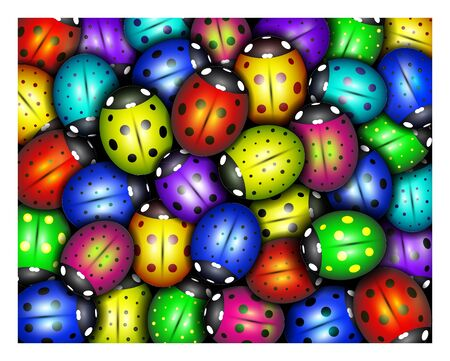 background of  colorful ladybugs