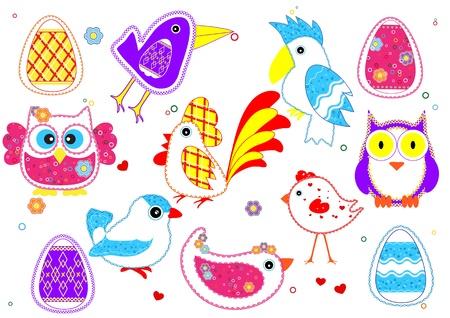 Set of birds for kids Vector