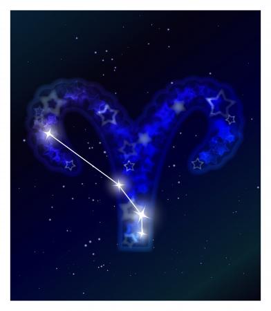 aries: Horóscopo y constelación del zodiaco en el cielo estrellado Vectores