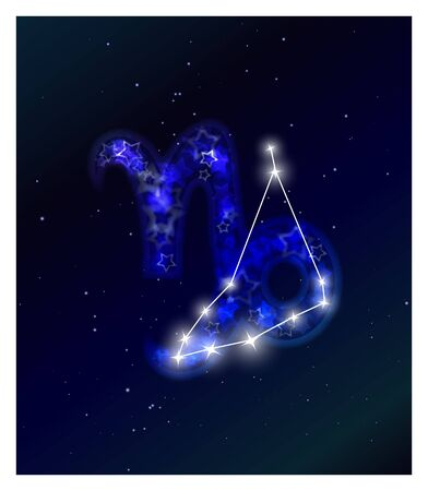 Horoscope and zodiac constellation on the starry sky