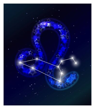 Horoscope and zodiac constellation on the starry sky Vector