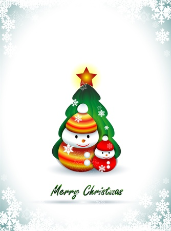 Background with two snowmen and Christmas tree, Christmas greetings Stock Vector - 16682938