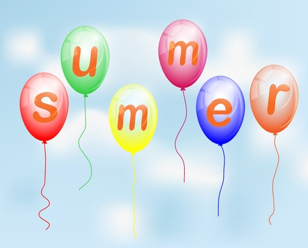 Balloons with the word Summer flying in the sky Illustration