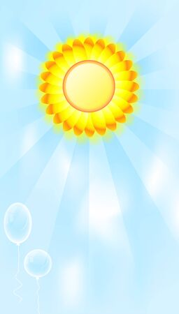 sun background with balloons